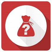 stock photo of riddles  - riddle red flat icon   - JPG