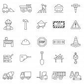 picture of skid-steer  - Construction line icons set - JPG