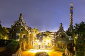 pic of gaudi barcelona  - Park Guell in Barcelona Spain in a summer night - JPG