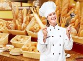 pic of bakeshop  - Mature professional chef woman in modern restaurant - JPG