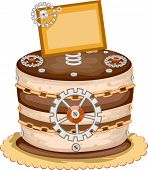 stock photo of bakeshop  - Illustration of an Appetizing Cake Decorated With Gears and Wheels - JPG