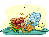 pic of school lunch  - Illustration of a School Lunch Composed of a Burger - JPG