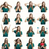 pic of differences  - Multiple collage of a beautiful young woman with different expressions and doing different things - JPG