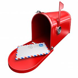 foto of mailbox  - Red mailbox and a letter envelope mail inbox correspondence with postage stamp and postmark - JPG