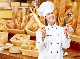 picture of bakeshop  - Mature professional chef woman in modern restaurant - JPG