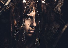image of dreadlock  - Close up Portrait of Woman With Stylish Dreadlocks Looking at the Camera - JPG