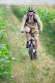 Mountain biker riding on bicycle
