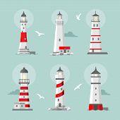 image of lighthouse  - Vector set of cartoon flat lighthouses - JPG
