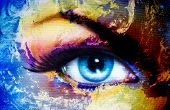 pic of face painting  - Planet Earth and blue human eye with violet and pink day makeup - JPG