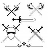 foto of battle  - knightly swords and battle axes - JPG
