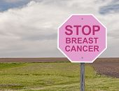 image of causes cancer  - Breast Cancer Stop Sign Representing Cancer Awareness - JPG