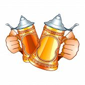 foto of stein  - Human hands with decorated beer steins isolated - JPG