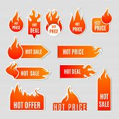 Fire Sale Flat Icon Set poster