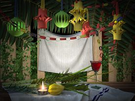 pic of sukkot  - Symbols of the Jewish holiday Sukkot with palm leaves and candle - JPG