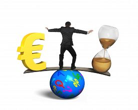 picture of seesaw  - Man standing between hourglass and golden euro sign balancing on seesaw of wood board and colorful ball isolated on white - JPG