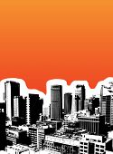 Black city on orange background. Vector art