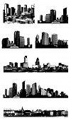 Set of cities. Vector