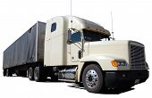 picture of freightliner  - White semi truck used for hauling goods with a covered flat - JPG