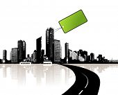 City with green tag. This illustration is also available as vector.