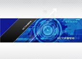Web banner with blue technology illustration.