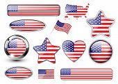 USA, North American flag buttons great collection, high quality vector illustration.