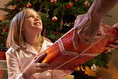 Young Girl Receiving Christmas Present In Front Of Tree