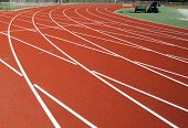 Close Up Of The Final Bend On A Running Track.