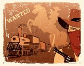 Vector Cowboy And Train.