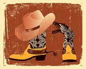 Vector Shoes And Hat For Cowboy .grunge Image
