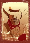 Vector Portrait Of Cowboy.stronge Man In Cowboy Hat .grunge Westrn Poster