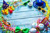 Colorful carnival background with party accessory, streamers and confetti poster