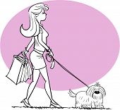 Shopping Girl With Dog In Bw