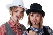 Two Girls With Painted Mustaches poster