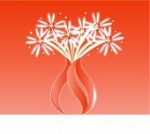 Orange flower fireworks vase