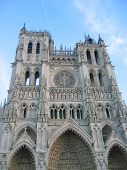 Front View Of The Cathedral With Blue Sky, Amiens, France