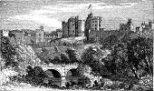 Alnwick Castle, In Alnwick, Northumberland County. 1890 Vintage Engraved Illustration.