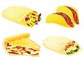 Taco, burrito, pie and kebab.