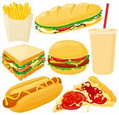 stock photo of hot dogs  - Big Fast Food Set - JPG