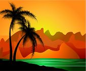 Palm trees against mountains and the sea. Vector