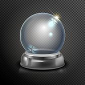 Постер, плакат: Magic Crystal Ball Of Glass And Silver Empty Snow Globe White Transparent Glass Sphere On A Stand