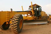 foto of road construction  - grader heavy earth road construction - JPG