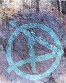 picture of anarchists  - Grunge wall with anarchist graffiti symbol on it - JPG