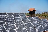 Solar Panels On Mountain Hut