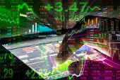 Stock Market Indicator And Financial Data View From Led. Double Exposure Financial Graph And Stock I poster