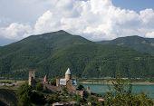Ananuri Fortress On Georgian Military Highway. Georgia.