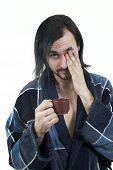 Sleepy Man In Housecoat With Little Cup Of Coffee