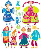 Decorative set of Slavonic cartoon characters: beautiful women, young girl in ethnic dress, boyfrien