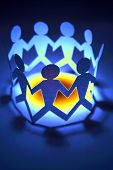 picture of crew cut  - Team together in a circle holding hands - JPG