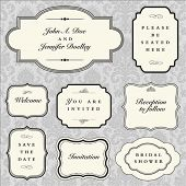 Set of vector ornate frames with sample text. Perfect as invitation or announcement. Background patt