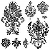 Set of ornamental vector damask illustrations. Easy to edit. Perfect for invitations or announcement